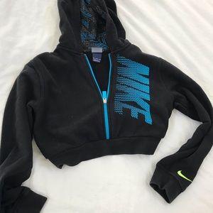 Black Nike crop zip hoodie